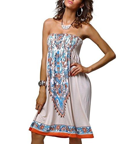 Wander Agio, ärmelloses Kleid für Damen, Strandkleid, Motiv: chinesisches Porzellan, Überkleid Gr. Medium, beige