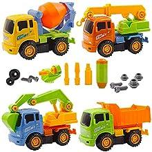 deAO Camion di Costruzione di Smontaggio Set di 4 Colorato Veicoli per Assemblare - Assortiti Camion e Cacciavite Inclussi