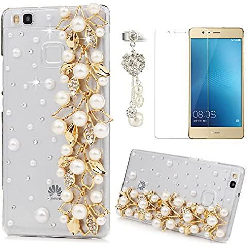 Lanveni Funda Carcasa Rigida PC ultra Slim para Huawei P9 Lite (no para P9) Bling Diamante Cristal Transparente Protective Case - Diseño Flores de Perlas + Protector de Pantalla + Enchufe anti del