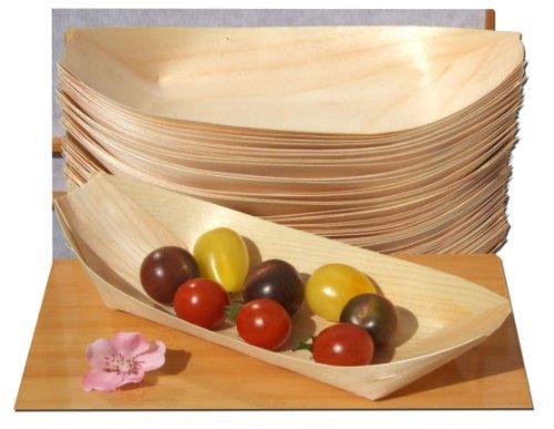 Lot de 50 coupelles en bambou en forme de bateau pour apéritif 240 x 110 mm