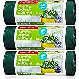 Öko Müllbeutel mit Zugband - 60 Liter (60 Stück) - Extrem Reißfest & Flüssigkeitsdicht - 3er Pack (3x20 Stück) -
