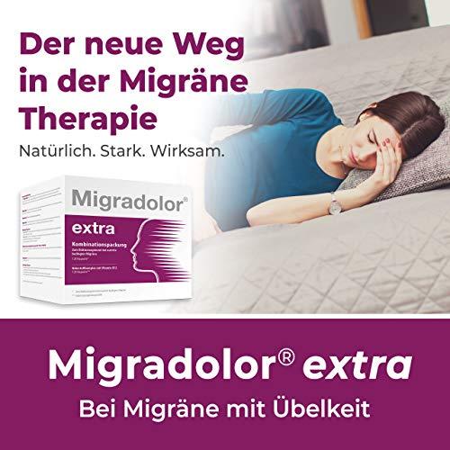 Migradolor extra – Bei Migräne & Übelkeit – Natürliche Hilfe bei Kopfschmerzen – Nicht-Medikamentöse Migräne-Prophylaxe – 2x 120 Kapseln Kombipackung