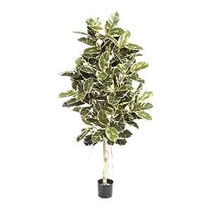 Pianta artificiale Ficus elastica Variegata, altezza 180cm - 174 foglie, verde-bianco