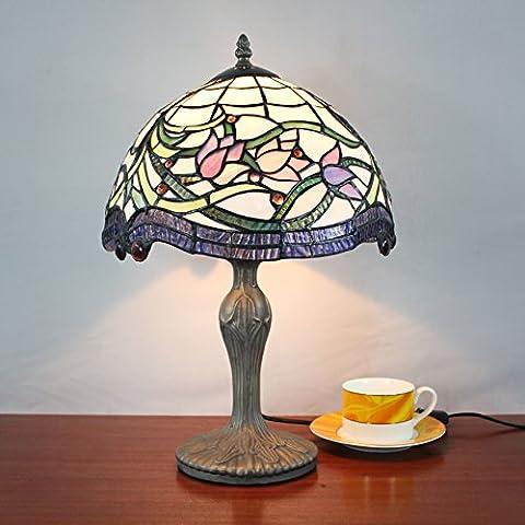 SINCERE@ 12 Pouces Vintage Pastoral Lotus Vitrail Tiffany Table Lamp Chambre Lampe Lampe de chevet