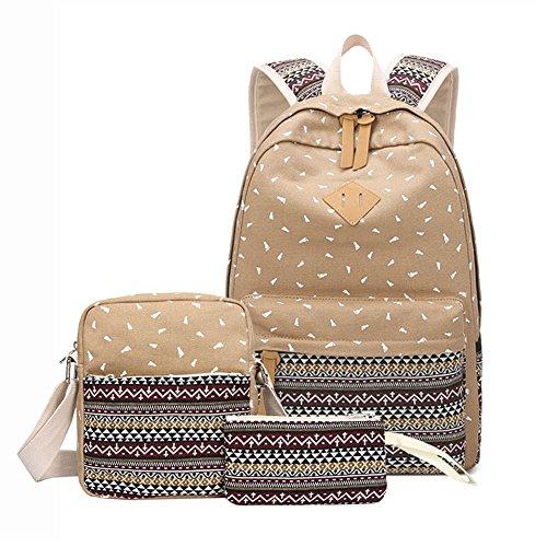 Imagen de susutop set de 3  escolares juveniles para chicas lona mujer tela casual bolsa escolar niña ordenadores portátiles de +bolso de bandolera+monedero caqui