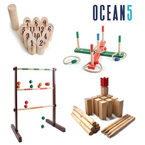 Ocean5 – Kubb – Original Wikinger-Spiel für draußen – Holz-Wurfspiel mit Tragetasche – Schweden-Schach, das Geschicklichkeitsspiel - 7