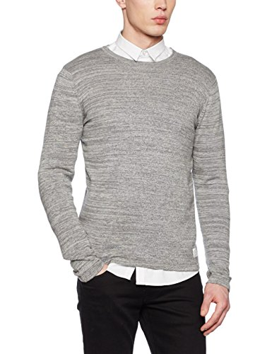 JACK & JONES JCOARAGON KNIT CREW NECK, Felpa Uomo, Grigio (Light Grey Melange), Small