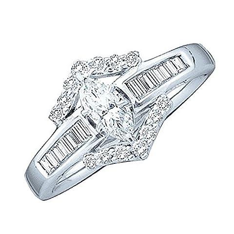 0.37CTW ROUND BAGUETTE DIAMOND LADIES SEMI MOUNT BRIDAL