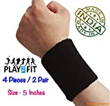 #5: 4 Wristband (2 Pair) in Black Color Soft Sweatband for All Sport, Stretchable, Sweat Absorbent Supports Wrist (5 inch)
