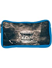 Snoogg Eco Friendly Canvas Birds Flying Around The Small Temple Designer Student Pen Pencil Case Coin Purse Pouch...