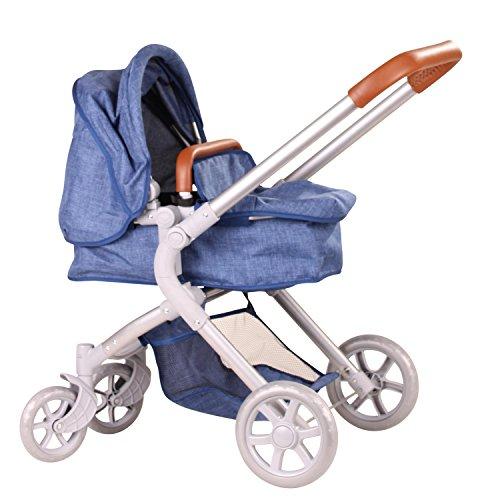 Götz 3402865 Denim 2 in 1 blauer 4-rädriger Puppenwagen - passend für alle Götz Puppen bis 50 cm mit Aufbewahrungskorb und abnehmbarer Tragetasche