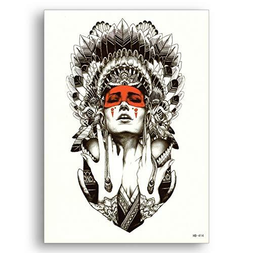 Impermeabile autoadesivo temporaneo monouso acqua transfer tatuaggi finti antico capo indiano ragazza guerriero donna body art fiore braccio,pack of 10