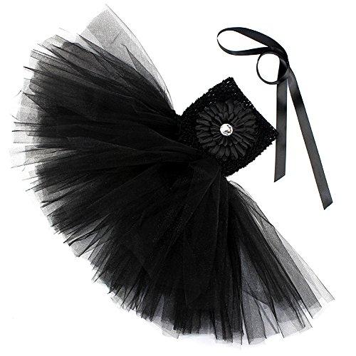 Spitze Prinzessin Rock Sommer Blumen Kleider für Baby Kleinkinder Kinder 0-2 Jahre alt Medium Schwarz mit Chrysantheme (Halloween Rockstar Ideen)