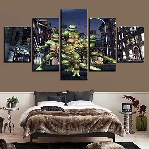 OYBB Drucke auf Leinwand Drucke Kunst Bild Poster Nein, gerahmt Painted Fünf Kämpfer Ninja Turtles Dekorative Malerei Home Bedside Hintergrund Poster 40X60Cmx2 40X80Cmx2 40X100Cmx1 - Ninja Hintergrund Turtle