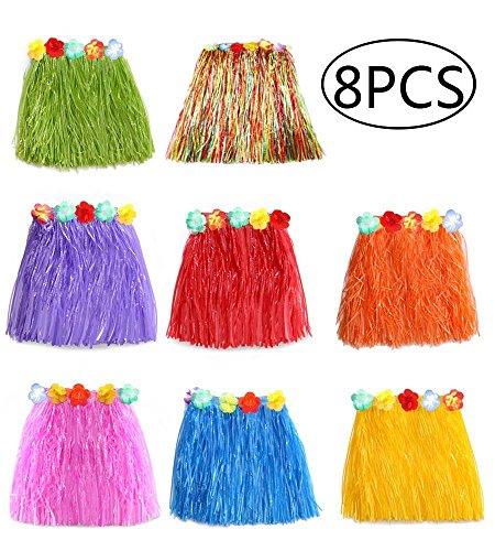 8 Stücke Mehrfarbig Hawaiian Seide Falsch Blumen Hula Gras Rock - Mädchen Frauen Zubehör für Hula Luau Party (Verdicken-40cm) (Hula Boy Kostüm)