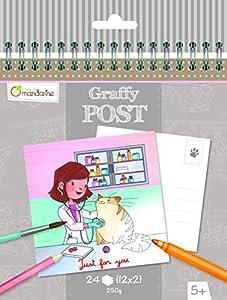 Avenue Mandarine graffy Post Postal para Colorear, diseño de Veterinaria (Blanco/Negro)