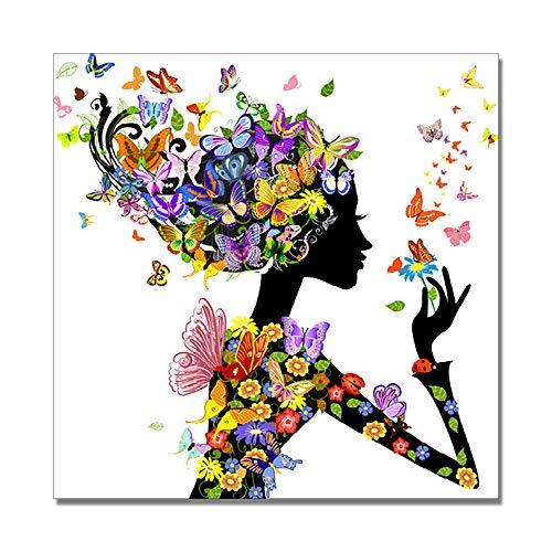 5D Diamant Malerei Set, Gemälde Malen nach Zahlen 5D Kristall Diamant Painting Schmetterling Mädchen Strass Stickerei Kreuzstich Supply Kunst Basteln Leinwand 40 x 40 cm -
