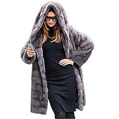 c8e70320c1e Aox Women Winter Faux Fur Hood Warm Thicken Coat Lady Casual .