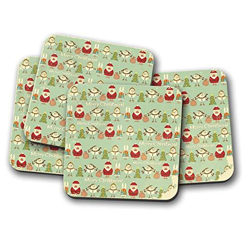 4 x Vintage Merry Christmas Drinks Coasters