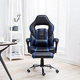 HENGMEI Racer Gaming Stuhl Bürostuhl Ergonomisch Chefsessel Schreibtischstuhl Drehstuhl Computerstuhl mit Fußstütze (Schwarz-Blau Fußstütze)