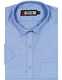Helg Formal Linen Plain Solid Half Sleeves Comfort Fit Shirt For Men