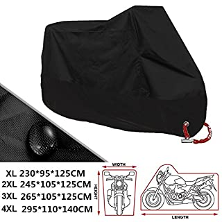 ANFTOP Motorcycle Cover 4XL Motorbike Scooter Cover Black Color White Lock Holes Waterproof UV Protective Cover XXXXL