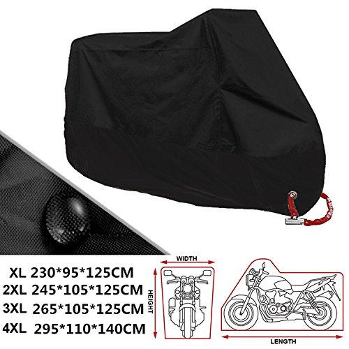 ANFTOP XXXXL Telo Coprimoto Impermeabile 190T Copri Scooter Moto Antipolveri Anti-UV per Esterni, con Sacca per il Trasporto, Misura 4XL(295*110*140cm), Colore: Nero