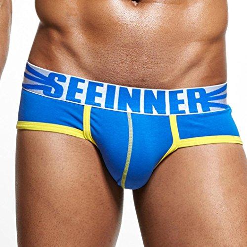 Herren Unterwäsche Shorts Herren Unterhose Soft Elastic Briefs Herren String Dessous Von Dragon868 (Blau, XL) (Poly-hemd)