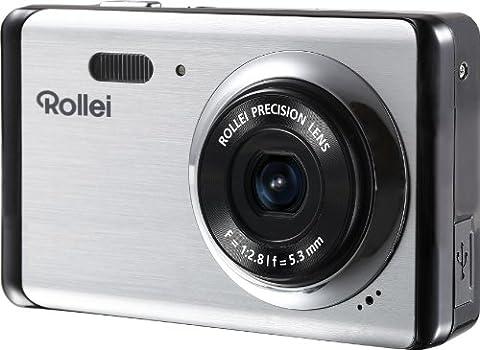 Rollei Compactline 83 Digitalkamera (8 Megapixel CMOS Sensor, 8-fach dig. Zoom, 6,9 cm (2,7 Zoll) LCD-Display, Panorama-Funktion, Multi-Schnappschuss-Funktion) silber