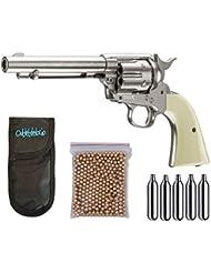 Outletdelocio. Pack Revolver perdigon Colt Peacemaker Gas C02. Calibre 4,5mm. + Funda Portabombonas + Balines + Bombonas co2. 29318/38123/23054