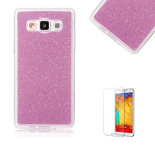 For Samsung Galaxy J1 Ace SM-J110 Case [with Free Screen Protector], Funyye Soft Silicone Gel TPU Ultra Thin Slim Glitter Protective Rubber Bumper Case Cover Shell for Samsung Galaxy J1 Ace SM-J110 - Pink