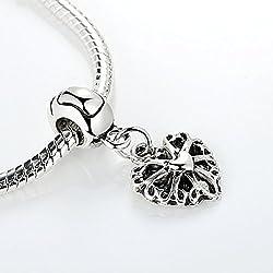Carina Sparkling Heart Charm Spacer Fits Pandora Bracelets