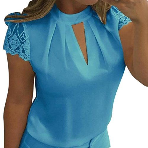 JUTOO Frauen Casual Chiffon Kurzarm Splice Lace Crop Top Bluse(Blau, EU:44/CN:XXL) - Braune Fransen-jacke