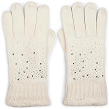 styleBREAKER gants chaud avec strass et polaire, gants d hiver tricotés,  femme 09010010 8bde716b6ba