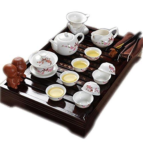 Meilleur rouge Fleur et Oiseau céramique Kung Fu Service À Thé avec plateau de thé