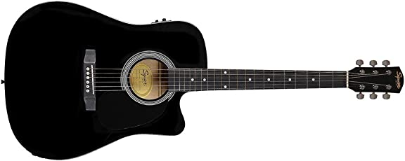 Fender 0930307006SA-105CE Chitarra acustica elettrificata Dreadnought a spalla mancante, colore: nero Full 4/4 Nero