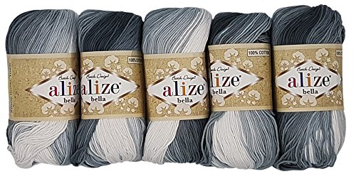 Alize Bella 5 x 50 Gramm Baumwolle Mehrfarbig mit Farbverlauf, 250 Gramm Wolle aus 100% Baumwolle, Strickwolle (Schwarz Grau weiß 2905)