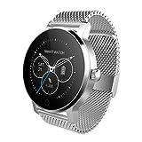 XWEM Bluetooth-Uhr Vollkreis Smart Watch Herzfrequenz Blutdruck-Detektoren-Fitness-Pedometer unterstützen Fernbedienung Selbstzeit-Bewegung-Informationen drücken,Silversteel