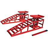 FoxHunter Metal Vehicle Car Ramp Lift With 2 Ton Hydraulic Jack 1 Pair Height Adjustable Garage Heavy Duty Red New