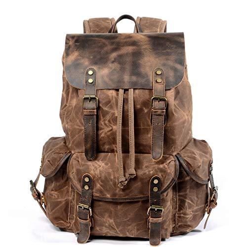 Canvas Leder Rucksack Vintage wasserdichte Laptop Daypacks Große Kapazität Mädchen/Junge Schüler Schule Taschen Big Rucksack Retro braun ()