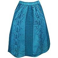 Mogul Womens Skirt Bohemian Blue Lace Panel Embriodered Gypsy Skirt