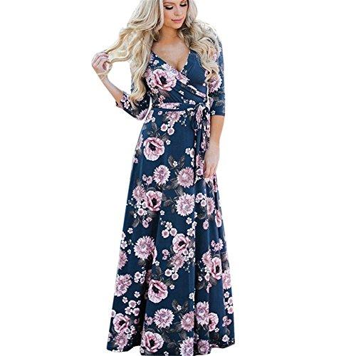 TWIFER Damen Herbst Langarm V-Ausschnitt Kleid Knopf MaxiKleid (S, B-weiß) (Kleid Kim Kardashian Roten)