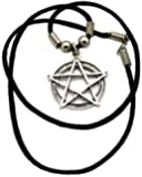 Pentagram in Circle Waxed Cord Necklace. Pentacle, pentangle, five pointed star. Wicca, Wiccan, supernatural, Pagan inspired necklace.