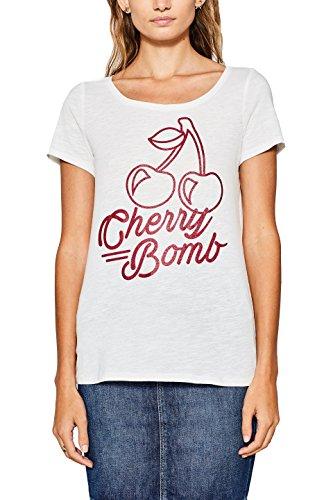 ESPRIT Damen T-Shirt 087EE1K083, Weiß (Off White 110), Medium (Herstellergröße:M) (Shirt Damen Cherry)