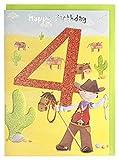 Geburtstagskarte zum 4. Geburtstag Cowboy