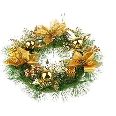 30cm Decoración Ornamento de Navidad Nieve Corona para Boda Floral Pared Puerta Bola - Oro