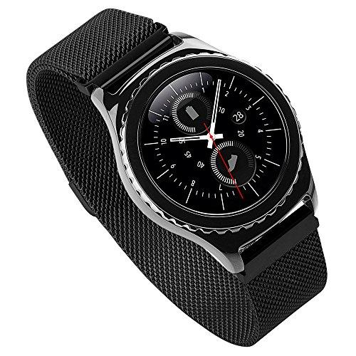 De Loveblue, correas de repuesto de 20mm para relojes Samsung Gear Sport y Withings Steel HR de 40mm, correa ancha de cuero genuino para Smart Watch y Garmin Vivoactive 3, compatible con Huawei Watch 2 Sport Version, color Black1