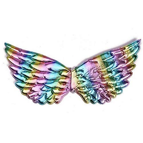 yeesn Mädchen Feenflügel für Einhorn Kostüm Zubehör Halloween Geburtstag Party Gr. Einheitsgröße, - Schule Themen Tanz Kostüm