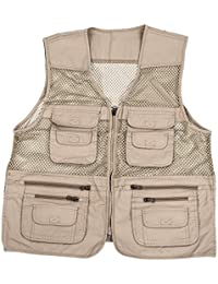 SODIAL(R) Chaleco de senderismo tiro pesca caza de multi bolsillos de utilidad de hombre Prenda sin mangas -XXL, beige
