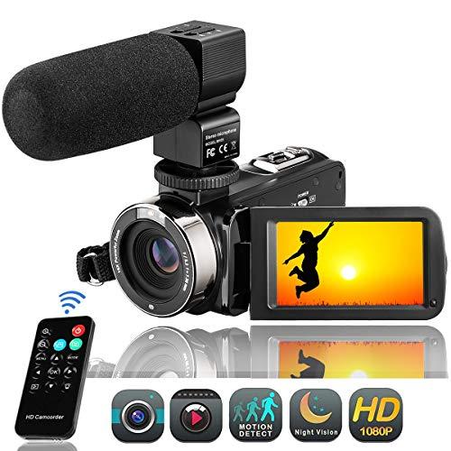 "Camcorder Videokamera FHD 1080P Digitalkamera 24MP Video Camcorder 3\"" LCD Touchscreen IR-Nachtsicht 16X Digital Zoom Vlogging Kamera mit Mikrofon (3051STRM)"